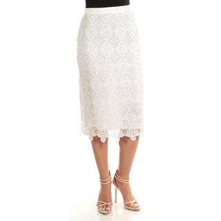 TOMMY HILFIGER $99 Womens New 1086 Ivory Lace Below The Knee Pencil Skirt 2 B+B