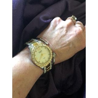 Burgi Women's Quartz Diamond Markers Crystal-Accented Two-Tone Bracelet Watch