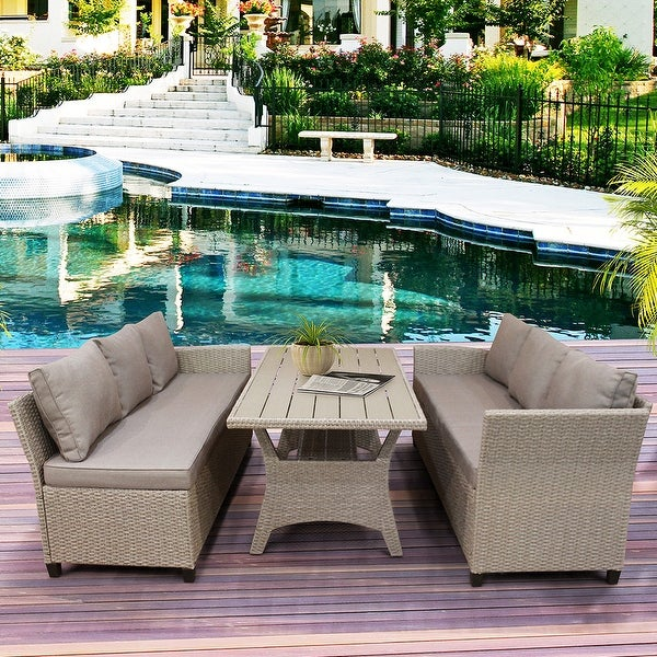Patio Dining Table Set Outdoor Furniture PE Rattan Wicker Set. Opens flyout.
