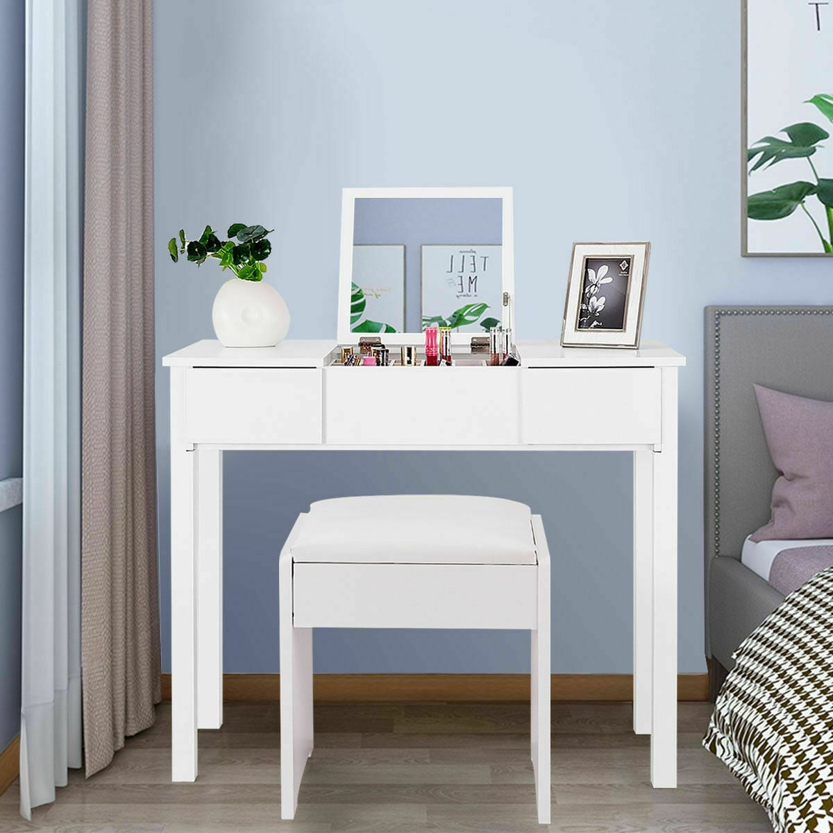 Costway White Vanity Dressing Table Furniture Stool Storage Box On Sale Overstock 18551616