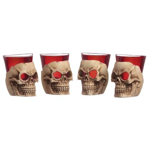 Barbuzzo Deadshot Skull Shot Glasses -Clear Glass with Sculpted Skulls, Set of 4 - Clear