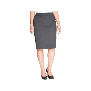 Calvin Klein Womens Plus Straight Skirt Heathered Knee-Length