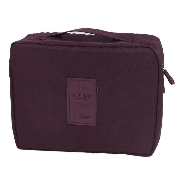 Unique Bargains Multi-mesh Pouches Portable Zippered Cosmetic Bag Organizer for Travel Storage Makeup Burgundy