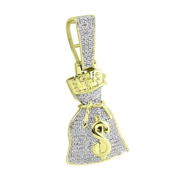 "Money Bag Custom Pendant 10k Yellow Gold Genuine Diamonds 1.16 Carat 1.8"" Charm"