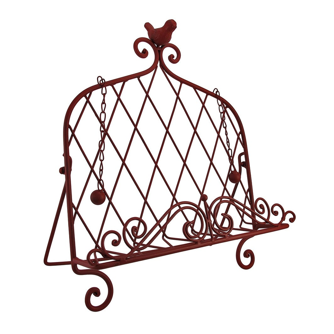 Decorative Red Bird Metal Cookbook Stand Book Holder Easel 15 25 X 13 75 7 Inches