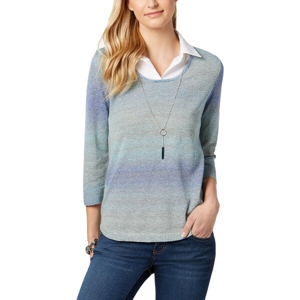 NY Collection Womens Sweater Embellished Layered
