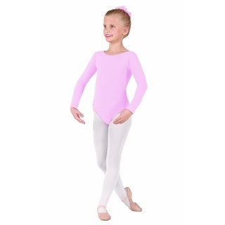 Eurotard Girls Long Sleeve Leotard, Pink, 1 - Intermediate