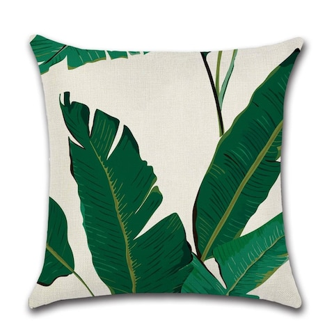 """Tropical Throw Pillows Covers Decorative Palm Plant Leaf Pillow Case for Outdoor Patio Couch Chair Fall Home Decor 18"""" x 18"""""""
