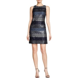 Kay Unger New York Womens Cocktail Dress Metallic Mixed Media