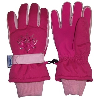 NICE CAPS Girls Thinsulate and Waterproof Floral Rhinestone Winter Gloves