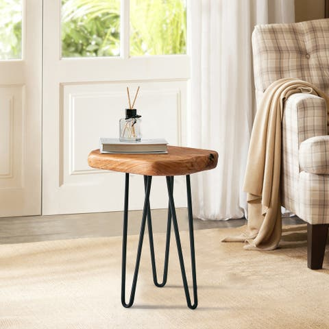 Cedar Roots Naturally Shaped Small Stool and Stand with 3 Hairpin Legs