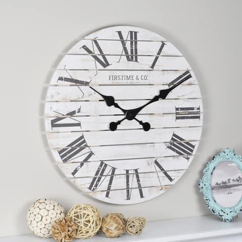 FirsTime & Co. Shiplap Farmhouse Wall Clock, Wood, 18 x 2 x 18 in, American Designed