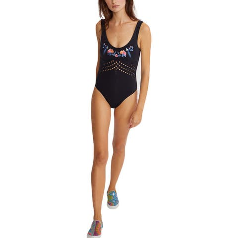 Cynthia Rowley Womens Racy Embroidered Perforated One-Piece Swimsuit