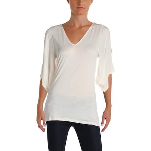 Lauren Ralph Lauren Womens Casual Top Cold Shoulder Draped Sleeve
