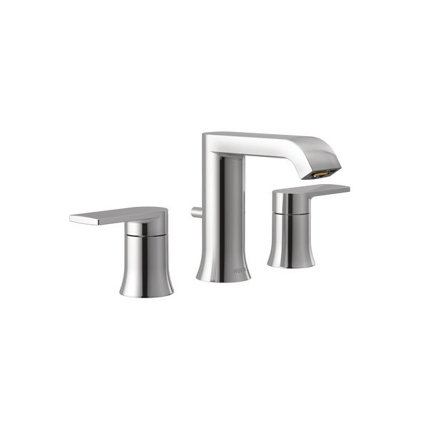 Moen T6708 Genta 1.2 GPM Widespread Bathroom Faucet with Pop-Up Drain Assembly and M-Pact Valve system