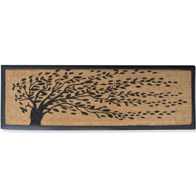 """Rubber and Coir Molded 'Falling Leaves' Double Door Mat - 16"""" X 48"""""""