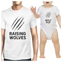 Raising Wolves Cute Dad Baby Girl Matching Shirt White Baby Bodysuit