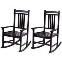 Costway Set of 2 Wood Rocking Chair Porch Rocker Indoor Outdoor Patio Furniture Black