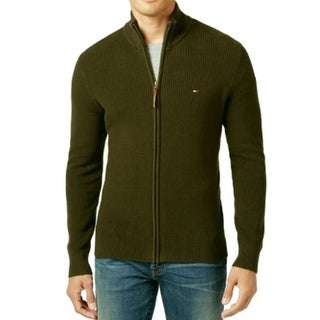 Tommy Hilfiger NEW Green Mens 3XL Ribbed Mock Neck Full Zip Sweater