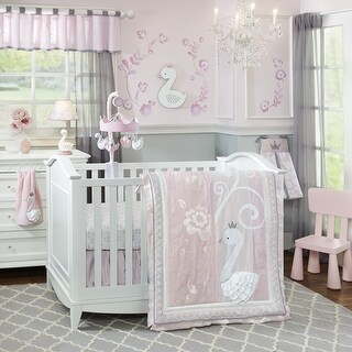 Lambs & Ivy Swan Lake Pink/White Floral 4-Piece Baby Nursery Crib Bedding Set