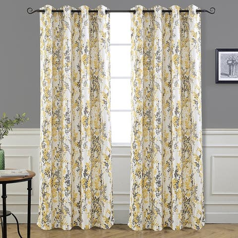 DriftAway Leah Floral Blossom Ink Painting Room Darkening Grommet Window Curtain Panel Pair