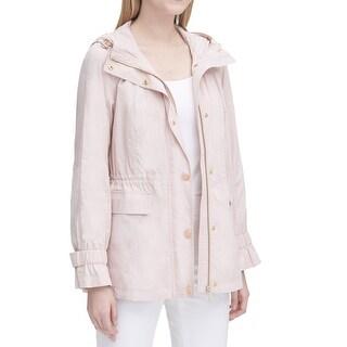 Calvin Klein Womens Jacket Blush Pink Size XS Anarak Button-Front Hood