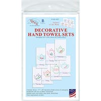 """Stamped White Decorative Hand Towels 15""""X30"""" Set Of 7-Teapots Of The Week"""