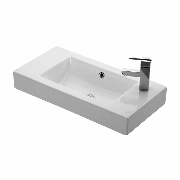 """WS Bath Collections Minimal 4054 Minimal 27-3/5"""" Wall Mounted/Vessel - White. Opens flyout."""