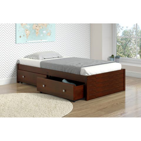 Twin Footboard Panel Bed in Dark Cappuccino with Drawers