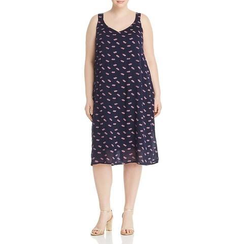 Bobeau Womens Plus Autumn Slip Dress Printed Sleeveless