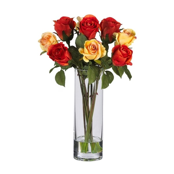 Nearly Natural Multi Roses with Glass Vase Silk Flower Arrangement