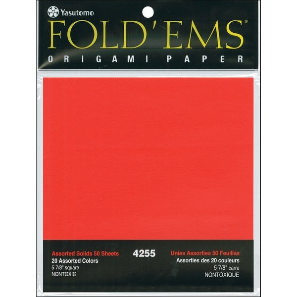 """Fold 'Ems Solid Origami Paper 5.875"""" 50/Pkg-Assorted Colors"""