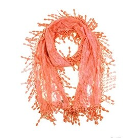Women's Fancy Sheer Lace Scarf With Fringe Drops Pink Color