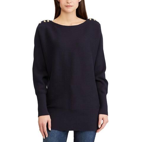 Ralph Lauren Womens Button-Shoulder Sweater Small Navy