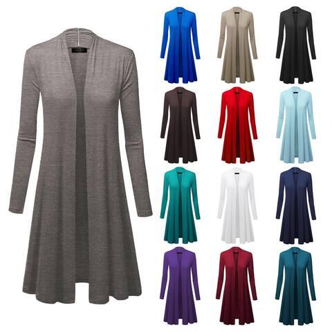 Women's Long Sleeve Open Front Long Cardigan