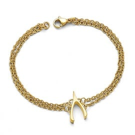Chisel Stainless Steel Polished Yellow IP-plated Wishbone Bracelet