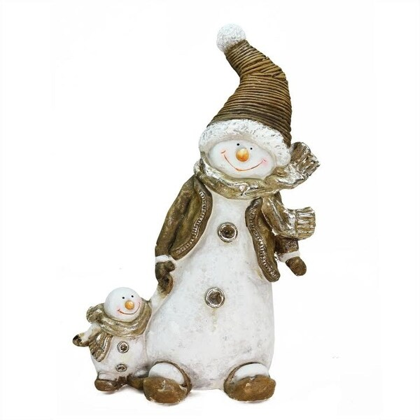 "20"" Whimsical Snowshoeing Ceramic Christmas Snowman with Snow-Baby Tabletop Figure - WHITE"