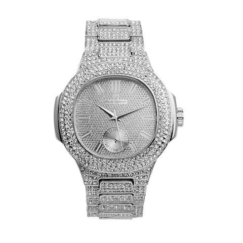 Bling-ed Out Oblong Case Metal Mens Watch - Rappers Favorite Hip Hop Bling Bling Watch - 8475
