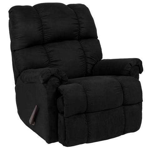 Offex Contemporary Sierra Black Microfiber Rocker Recliner with Plush Pillow Back