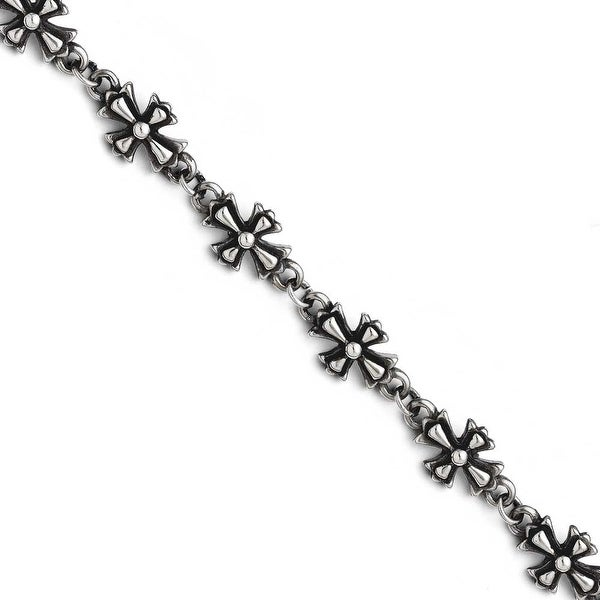 Chisel Stainless Steel Antiqued Crosses Bracelet