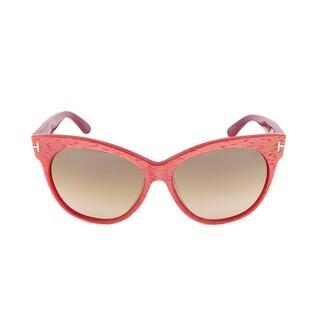 da389e8bd61 Shop Tom Ford FT0330 77G Saskia Oval Sunglasses - Red Cyclamen Frame ...