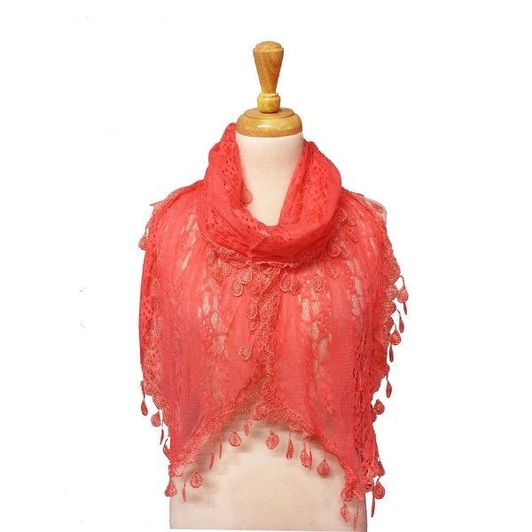 Women's Sheer Lace Scarf With Teardrops Fringe