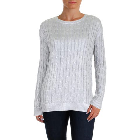 85a999c7f Lauren Ralph Lauren Womens Kati Crewneck Sweater Metallic Cable Knit