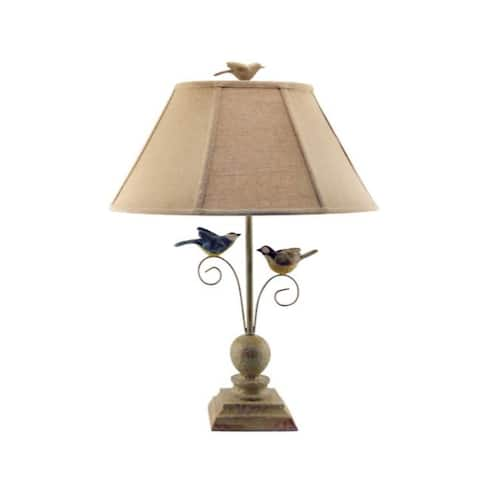 Cheerful Taupe Base Table Lamp with 3D Colorful Birds - 16 W x 7 D x 24 H