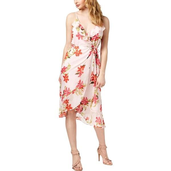 3b14b08e1eb07 Guess Womens Wrap Dress Floral Print Ruffled
