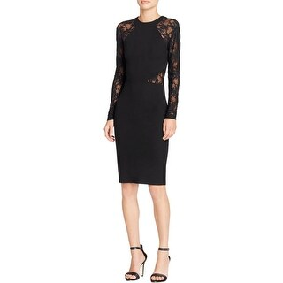 French Connection Womens Cocktail Dress Knit Lace-Trim