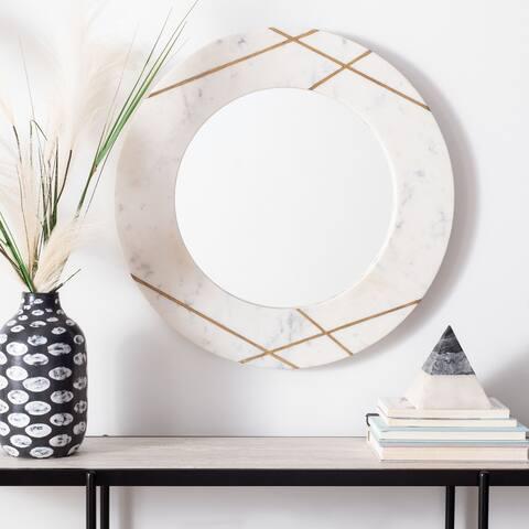 """Safavieh Hale 23-inch Modern White Round Mirror - 22.5"""" W x 1"""" L x 22.5"""" H"""
