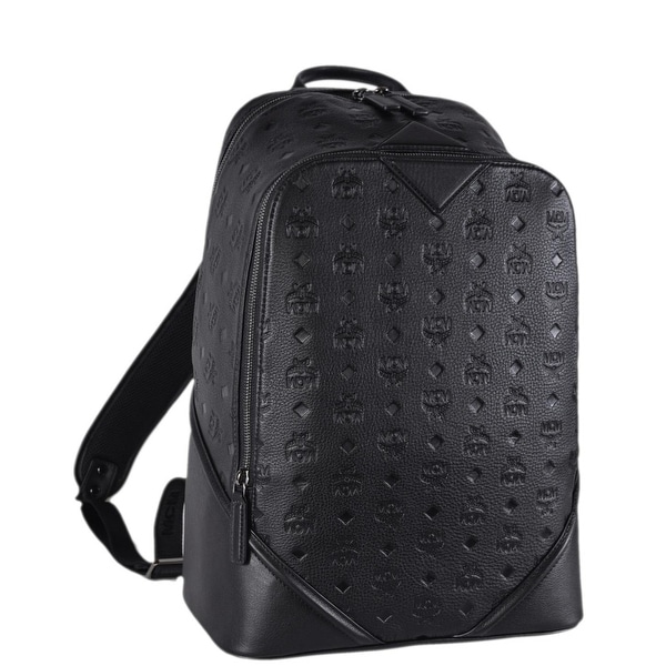 Shop Mcm Black Leather Monogram Visetos Ottomar Backpack