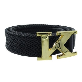 Kiton Black Braided Leather Logo Belt
