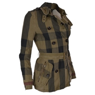 Link to Burberry Brit Burnstead Cotton Linen Nova Check Trench Coat Jacket Similar Items in Women's Outerwear